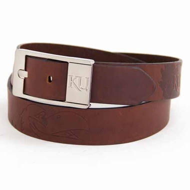 Kansas Brown Leather Brandished Belt