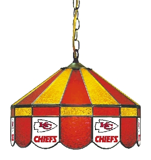 Kansas City Chiefs 16 Inch Diameter Stained Glass Pub Light