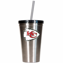 Kansas City Chiefs 16oz Stainless Steel Insulated Tumbler with Straw
