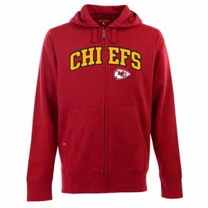 Kansas City Chiefs Mens Applique Full Zip Hooded Sweatshirt (Team Color: Red) - Large