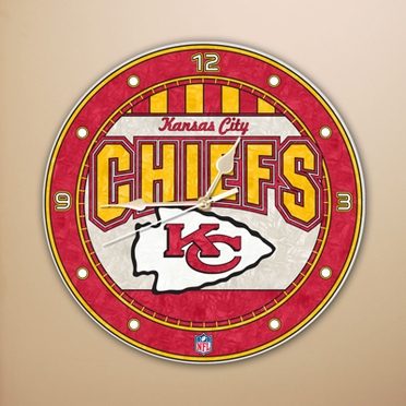 Kansas City Chiefs Art Glass Clock
