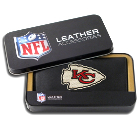 Kansas City Chiefs Embroidered Leather Checkbook Cover