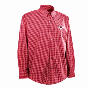 Kansas City Chiefs Mens Esteem Check Pattern Button Down Dress Shirt (Team Color: Red)