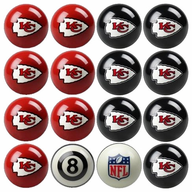 Kansas City Chiefs Home and Away Complete Billiard Ball Set