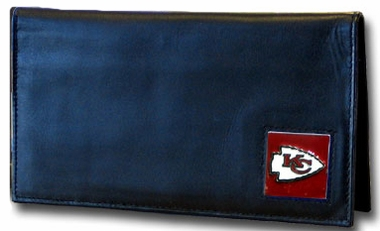 Kansas City Chiefs Leather Checkbook Cover (F)