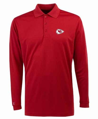 Kansas City Chiefs Mens Long Sleeve Polo Shirt (Color: Red)