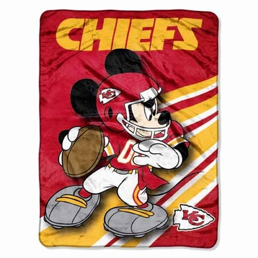Kansas City Chiefs Mickey Mouse Microfiber Throw
