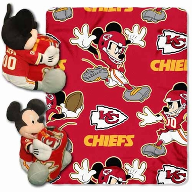 Kansas City Chiefs Mickey Mouse Pillow / Throw Combo