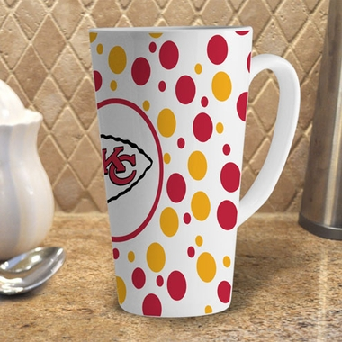 Kansas City Chiefs Polkadot 16 oz. Ceramic Latte Mug