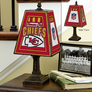 Kansas City Chiefs Small Art Glass Lamp