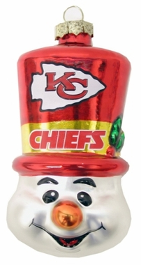 Kansas City Chiefs Tophat Snowman Glass Ornament