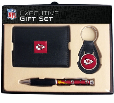Kansas City Chiefs Trifold Wallet Key Fob and Pen Gift Set