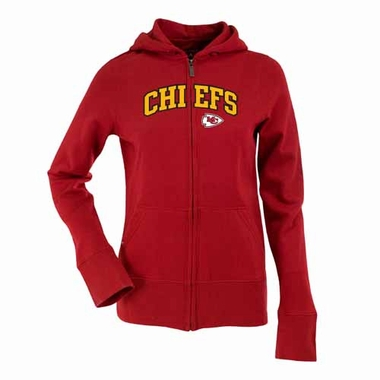 Kansas City Chiefs Applique Womens Zip Front Hoody Sweatshirt (Team Color: Red)