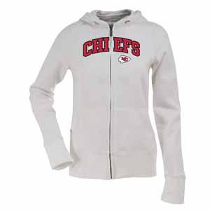 Kansas City Chiefs Applique Womens Zip Front Hoody Sweatshirt (Color: White) - X-Large