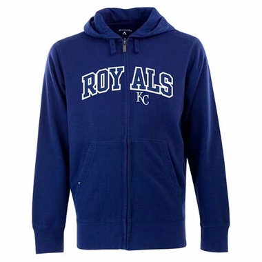 Kansas City Royals Mens Applique Full Zip Hooded Sweatshirt (Color: Royal)