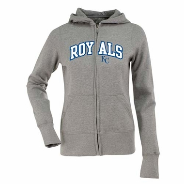 Kansas City Royals Applique Womens Zip Front Hoody Sweatshirt (Color: Gray)