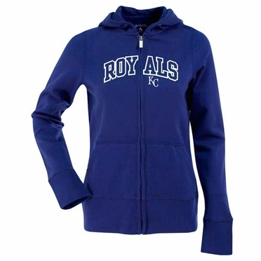 Kansas City Royals Applique Womens Zip Front Hoody Sweatshirt (Team Color: Royal)