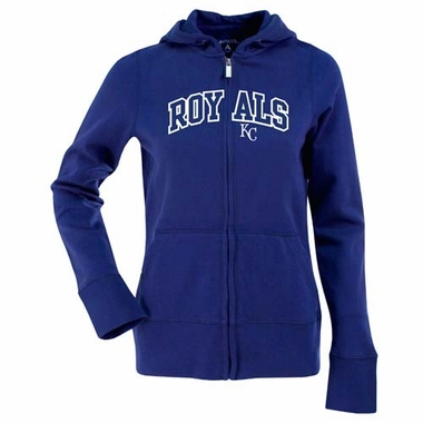 Kansas City Royals Applique Womens Zip Front Hoody Sweatshirt (Color: Royal)