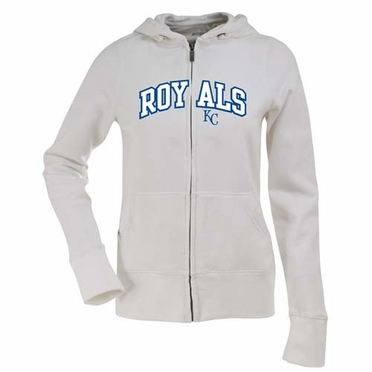 Kansas City Royals Applique Womens Zip Front Hoody Sweatshirt (Color: White)