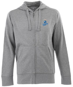 Kansas City Royals Mens Signature Full Zip Hooded Sweatshirt (Color: Gray) - Large
