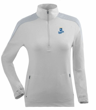 Kansas City Royals Womens Succeed 1/4 Zip Performance Pullover (Color: White)