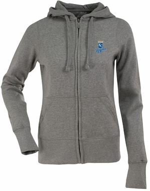 Kansas City Royals Womens Zip Front Hoody Sweatshirt (Color: Gray)