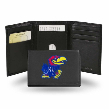 Kansas Embroidered Leather Tri-Fold Wallet