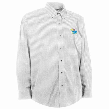 Kansas Mens Esteem Check Pattern Button Down Dress Shirt (Color: White)