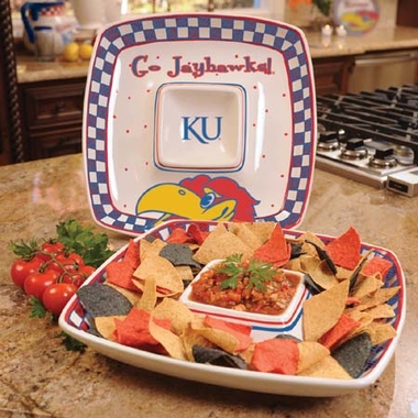 Kansas Gameday Ceramic Chip and Dip Platter