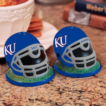 Kansas Helmet Ceramic Salt and Pepper Shakers