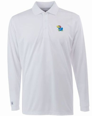 Kansas Mens Long Sleeve Polo Shirt (Color: White)