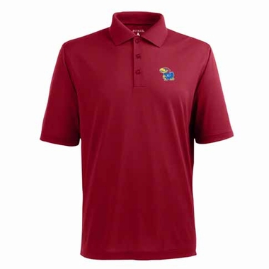 Kansas Mens Pique Xtra Lite Polo Shirt (Color: Red)
