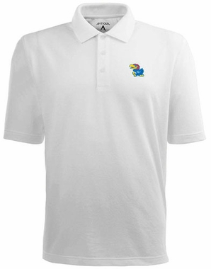Kansas Mens Pique Xtra Lite Polo Shirt (Color: White)