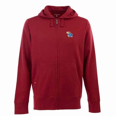 Kansas Mens Signature Full Zip Hooded Sweatshirt (Color: Red)