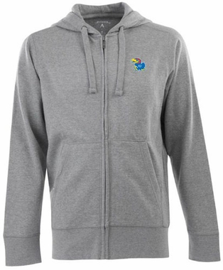 Kansas Mens Signature Full Zip Hooded Sweatshirt (Color: Gray)