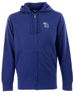Kansas Mens Signature Full Zip Hooded Sweatshirt (Team Color: Royal) - Medium