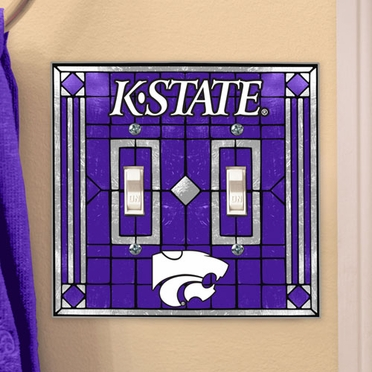 Kansas State Art Glass Lightswitch Cover (Double)