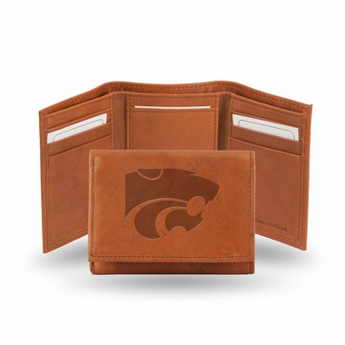 Kansas State Embossed Leather Trifold Wallet