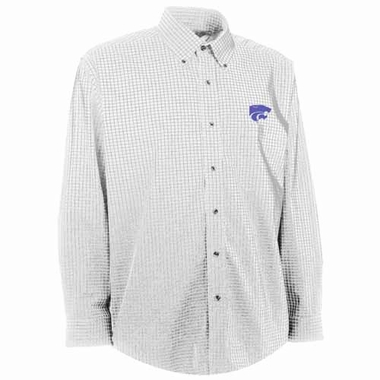 Kansas State Mens Esteem Check Pattern Button Down Dress Shirt (Color: White)