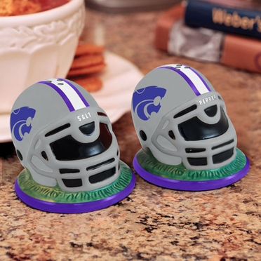 Kansas State Helmet Ceramic Salt and Pepper Shakers