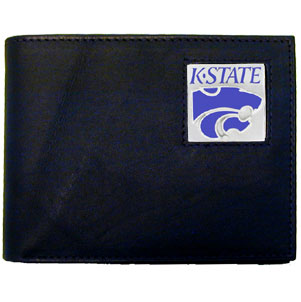 Kansas State Leather Bifold Wallet (F)