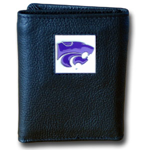 Kansas State Leather Trifold Wallet (F)