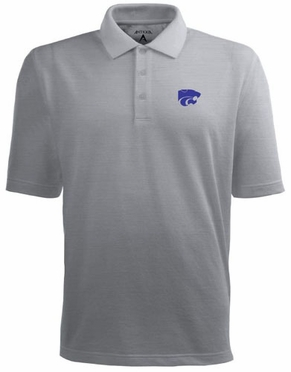 Kansas State Mens Pique Xtra Lite Polo Shirt (Color: Gray)