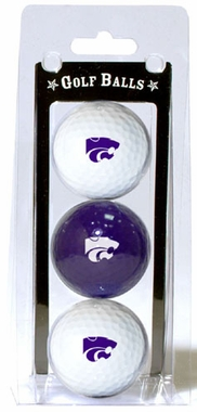 Kansas State Set of 3 Multicolor Golf Balls