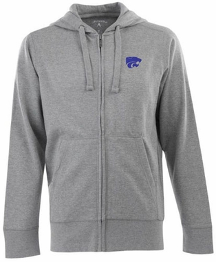 Kansas State Mens Signature Full Zip Hooded Sweatshirt (Color: Gray)