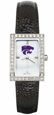 Kansas State Women's Black Leather Strap Allure Watch