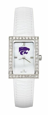 Kansas State Women's White Leather Strap Allure Watch