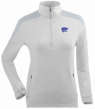 Kansas State Womens Succeed 1/4 Zip Performance Pullover (Color: White)