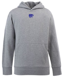 Kansas State YOUTH Boys Signature Hooded Sweatshirt (Color: Gray) - Small