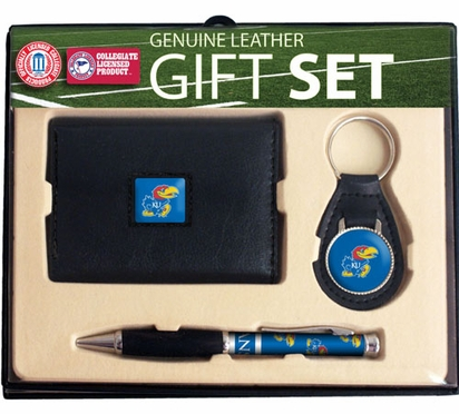 Kansas Trifold Wallet Key Fob and Pen Gift Set